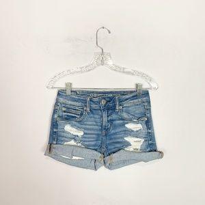 American Eagle midi shorts distressed denim size 4